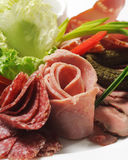 Cold Meat Dish. Sliced Meat Plate with Fresh Salad Leaf and Pickled Vegetables royalty free stock images