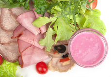 Cold Meat Dish - Sliced Meat Plate with Fresh Salad Leaf Stock Photography