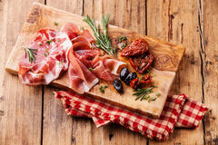 Cold meat plate and sun-dried tomatoes Royalty Free Stock Photography