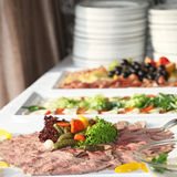 Cold meat platter on a buffet Royalty Free Stock Photo