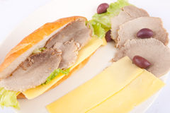 Cold meat Sandwich Royalty Free Stock Photos