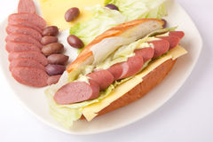 Cold meat Sandwich Royalty Free Stock Images