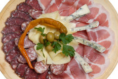 Cold meats with cheese, pepper Royalty Free Stock Images