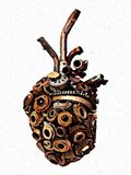 Cold Mechanical Heart - Abstract Digital background. A Cold mechanical heart made of mechanical spare parts. Gears, sprockets, chains royalty free illustration