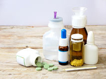 Cold medicines - pill, syrup, drop, ampoule, syringe Royalty Free Stock Photography