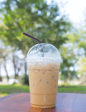 Cold milk coffee and ice in glass Royalty Free Stock Images