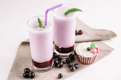 Cold milkshake with a black currant on a white background, close-up. Cold milkshake with a black currant on a white background Royalty Free Stock Photography
