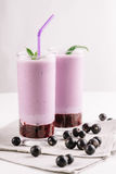 Cold milkshake with a black currant on a white background, close-up. Cold milkshake with a black currant on a white background Stock Images