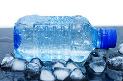 Cold mineral water bottle with ice cubes Royalty Free Stock Images
