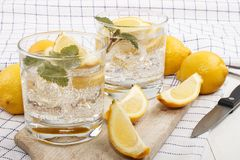 Cold mineral water with lemon as a refreshing drink. In a glass Royalty Free Stock Photos