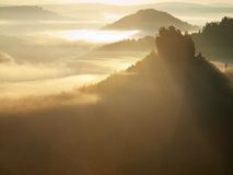 Cold misty sunrise in a fall valley of Saxony Switzerland park. Sandstone peaks increased from fog, the fog is colored to orange Stock Photos
