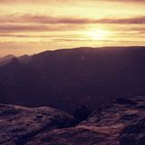 Cold misty sunrise in a fall valley of Saxony Royalty Free Stock Photography