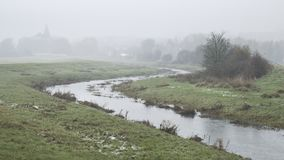 Cold Misty Winter Landscape Over Stream In English Countryside Royalty Free Stock Images