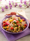 Cold mixed pasta salad with tuna. Tomatoes radish and peas Royalty Free Stock Image