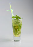 Cold mojito cocktail. On gray background Royalty Free Stock Photography