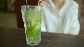 Cold Mojito cocktail with ice stock video