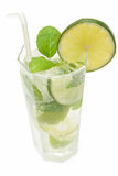 Cold Mojito drink. Mojito drink with ice, lime and mint Royalty Free Stock Images
