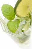 Cold Mojito drink. Mojito drink with ice, lime and mint Stock Images