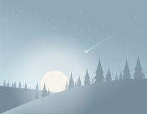 A cold Moon night. Illustration Stock Photography