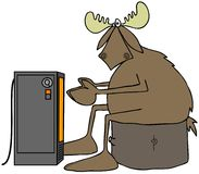 Cold moose warming by an electric heater Stock Photography