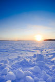 Cold morning. Sunrise at cold morning on the lake in Finland stock image