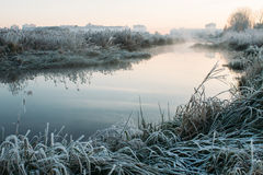 Cold morning in the city park. By the river royalty free stock photography