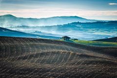 Cold morning over Tuscan fields. In the early autumn stock photo