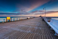 Cold morning at Pier in Sopot stock image