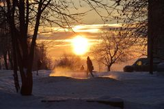 Cold morning in Russia. Cold winter morning in Russia Stock Photography
