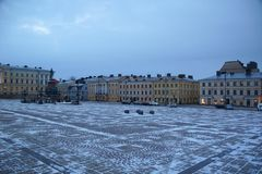 Cold morning on Senate Square. In Helsinki Royalty Free Stock Images