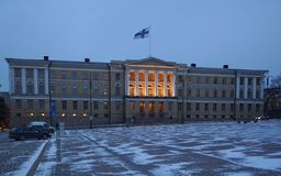Cold morning on Senate Square. In Helsinki Royalty Free Stock Photo
