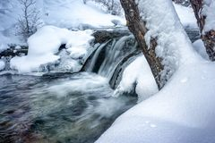 Forest Waterfalls and a Cold Spring fed River. A cold morning on a spring fed river with ice crystal and waterfalls stock photo