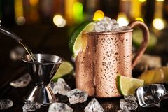 Cold Moscow Mule - Ginger Beer, lime and Vodka Stock Image