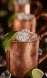 Cold Moscow Mules - Ginger Beer, lime and Vodka Stock Images