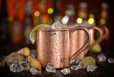 Cold Moscow Mules - Ginger Beer, lime and Vodka Royalty Free Stock Photos