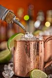 Cold Moscow Mules - Ginger Beer, lime and Vodka Royalty Free Stock Photo