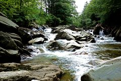 Cold Mountain River. An image of the mountain New Haven river in the Green Mountains of Lincoln, Vermont. This is a medium sized stream with lots of large royalty free stock photo