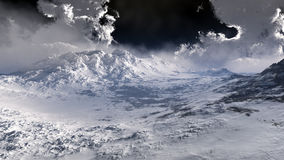 Cold Mountains With Clouds. Environment of a cold mountains with snow cover and strangely menacing clouds on the horizon Stock Photo