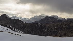 Cold mountains timelapse. Fast clouds over dolomites peaks. Sunset cloudy sky stock footage