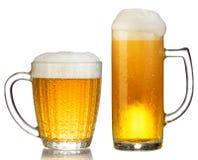 Cold mug of beer Stock Photos