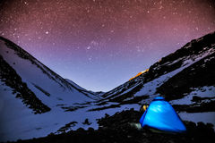 Cold night bitween mountain royalty free stock photography