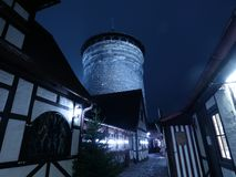 Cold night. Nrnberg tower winter royalty free stock photography