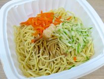 Cold noodles closeup. At convenience store stock photography