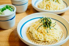 Cold noodles. Or Ramen in white plate - Japanese food style Stock Photo