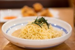 Cold noodles at restaurant.  Japan food concept. Cold noodles at restaurant.  Japan food and modern decorate concept royalty free stock photography