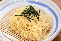 Cold noodles at restaurant.  Japan food concept. Cold noodles at restaurant.  Japan food and modern decorate concept royalty free stock photos