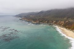 Aerial View of Coastline and Scenic Beach in California stock photography