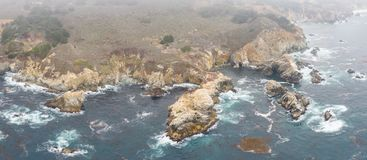 Aerial View of Ocean and Beautiful Coastline in California stock photography