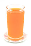 Cold orange juice. In glass placed on coasters with white background Stock Image