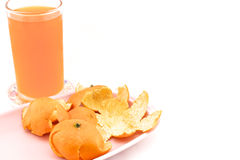 Cold orange juice with peel on tray. Cold orange juice in glass placed on coasters and orange peel with white background Stock Image